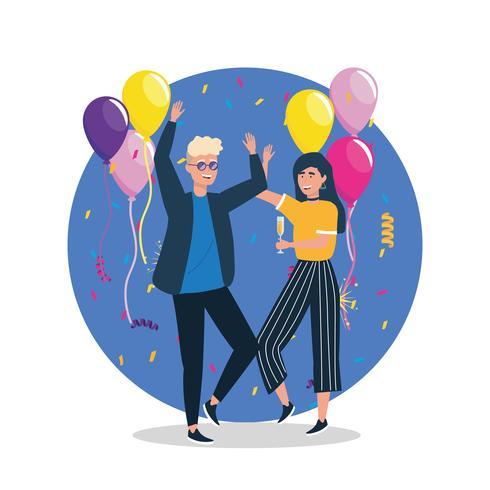 Joven y mujer bailando en fiesta vector