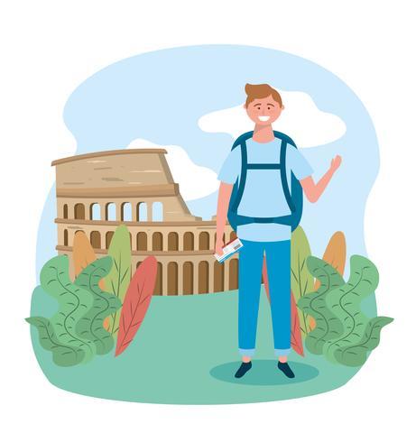 Manlig turist framför colosseum i Rom vektor