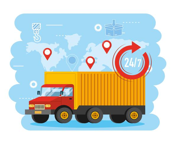 Truck transport with 24 symbol and global map  vector