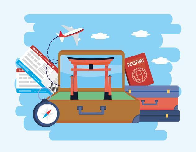 Koffer mit Tokio Skulptur und Koffer mit Reisepass