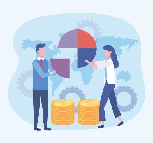 Uomo d'affari e donna d'affari con diagramma e monete