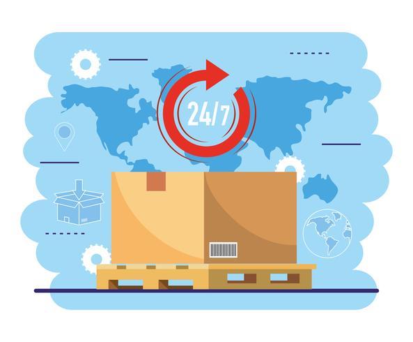 Pacote no transporte de paletes com mapa global