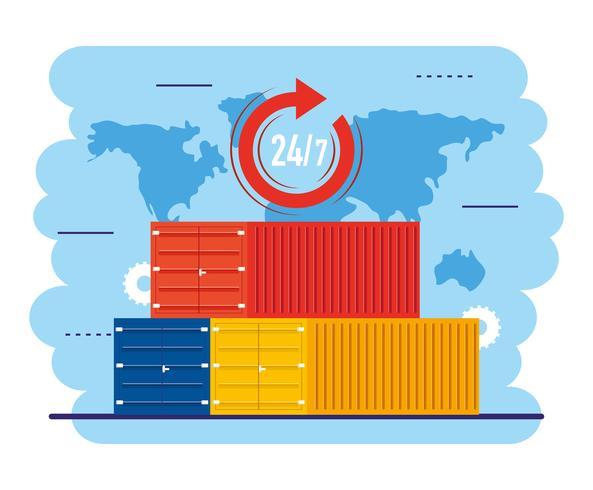 Verzendcontainers met 24-uurs symbool