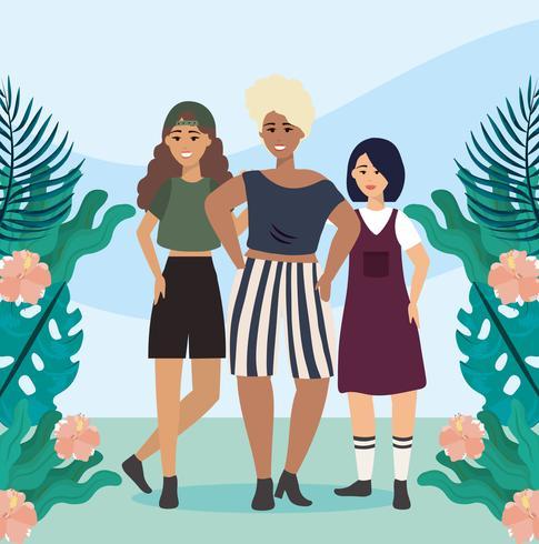 Jonge diverse vrouwen met planten en bloemen