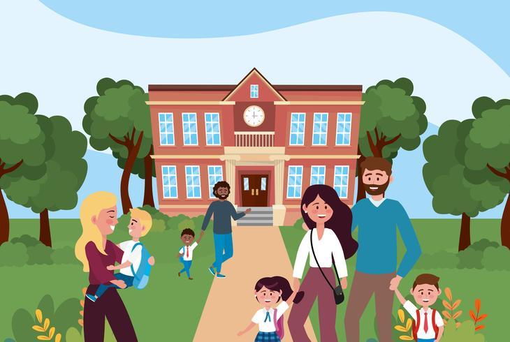 Padres con hijos frente a la escuela. vector