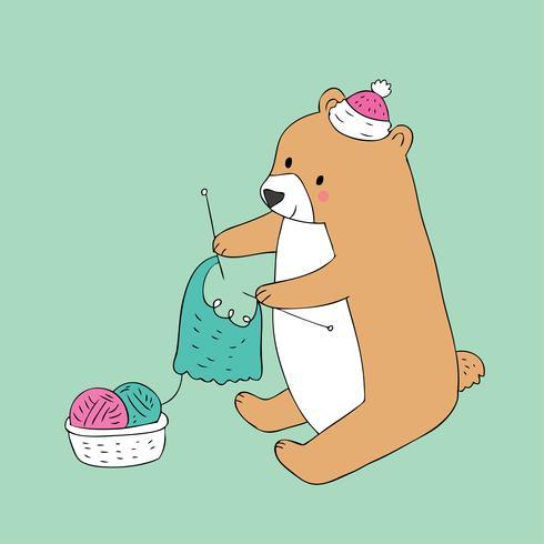 brown bear knitting