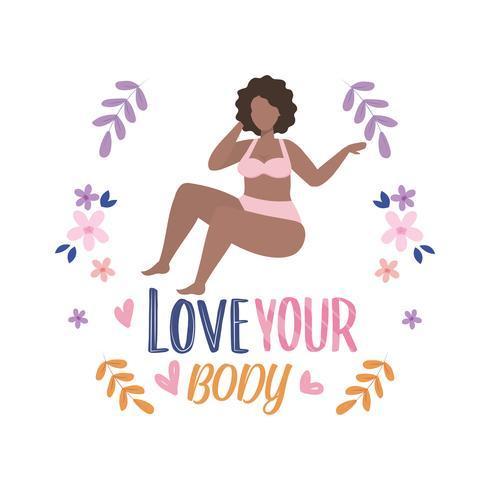 Mujer en ropa interior con amor tu cuerpo mensaje con flores vector