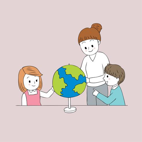 docent en student geografie klas