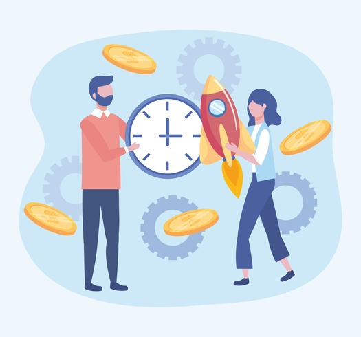 Businesswoman and businessman with clock and rocket  vector