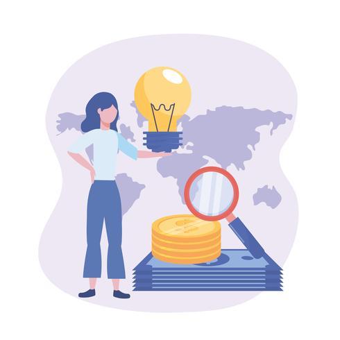 Onderneemster met ideebol en geld