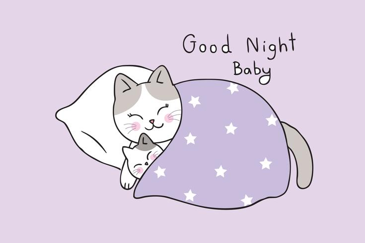 mamma och baby katt som sover vektor