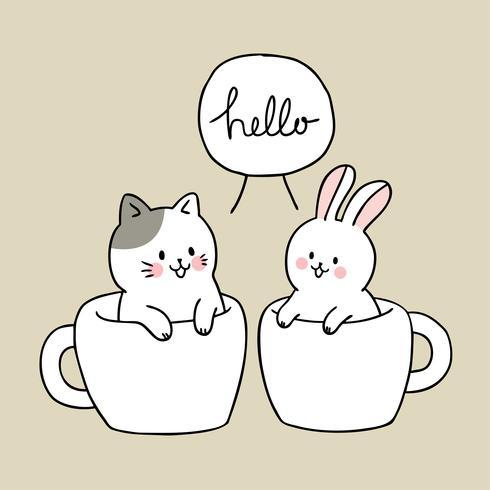 Cartoon schattige kat en konijn in kop koffie