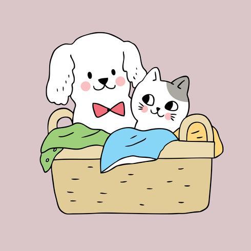 Cartoon cute  dog and cat in basket