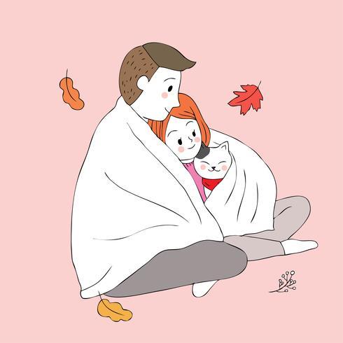 man and woman hug cat