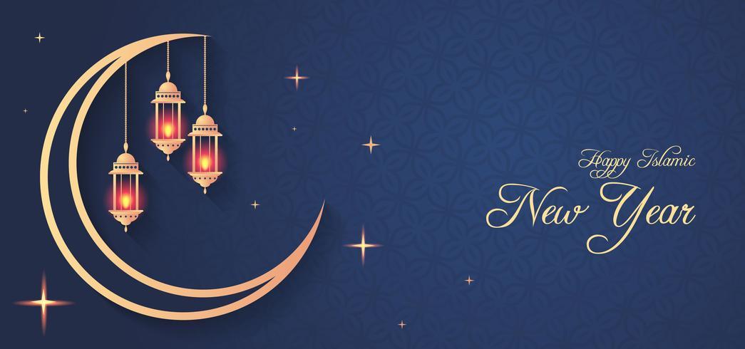 Islamitisch nieuwjaarsontwerp met hangende lantaarns