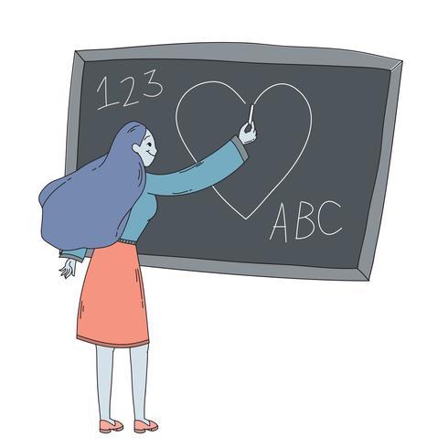 Glückliche Lehrertageslehrerzeichnung auf Tafel