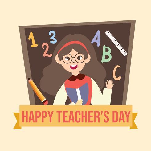 De gelukkige illustratie van het de leraarsbeeldverhaal van de lerarendag