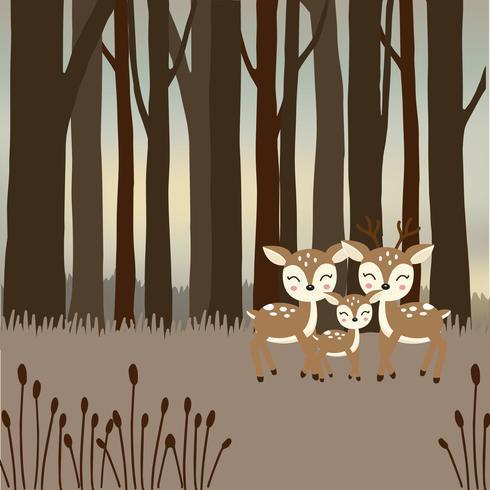 Leuke hertenfamilie in het bos.