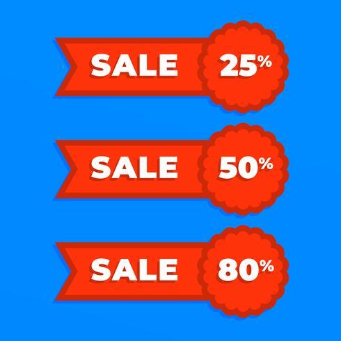 Eenvoudige verkoop rood lint badge set