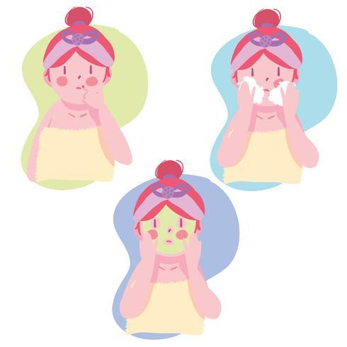 Gezicht huidverzorging routine meisje set