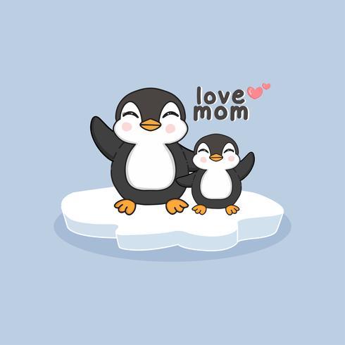 Hand getekend moeder pinguïn en baby