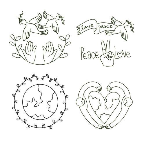 set di progettazione logo pace e amore