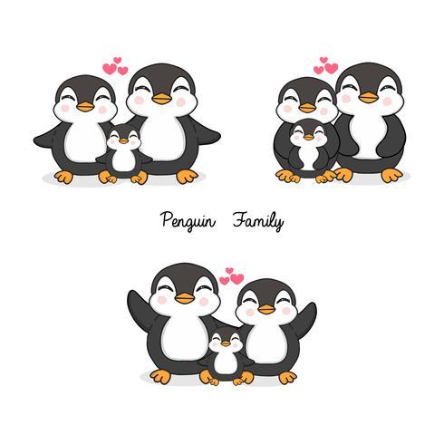 Familie von Pinguinen im flachen Stil.