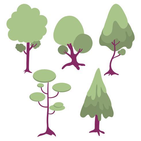 insieme dell'illustrazione del fumetto degli alberi