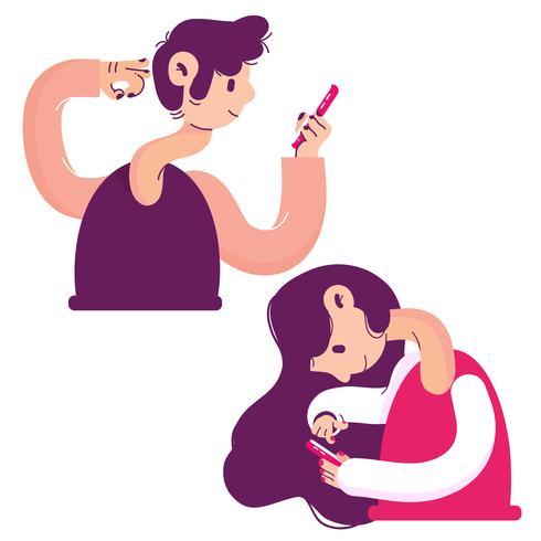 lange nek mensen met behulp van smartphone