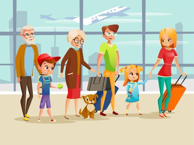 Barn, föräldrar, morföräldrar och hund med resbagage