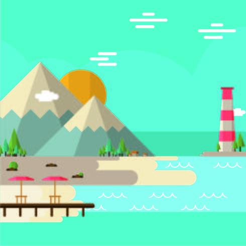 Landschap met oceaan en bergen
