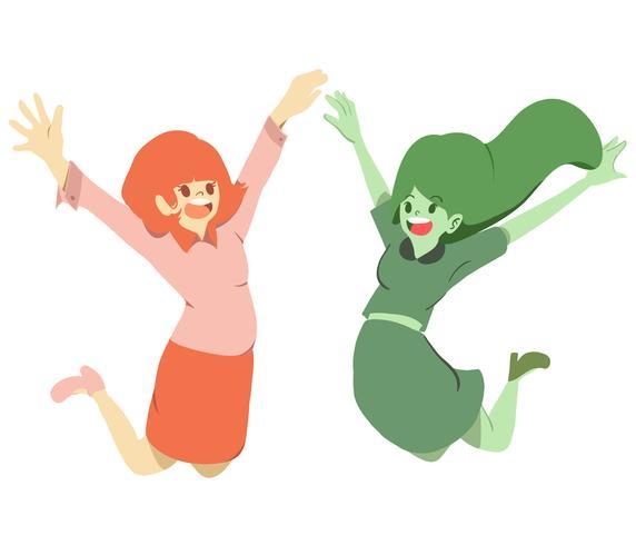 insieme del fumetto delle ragazze di salto