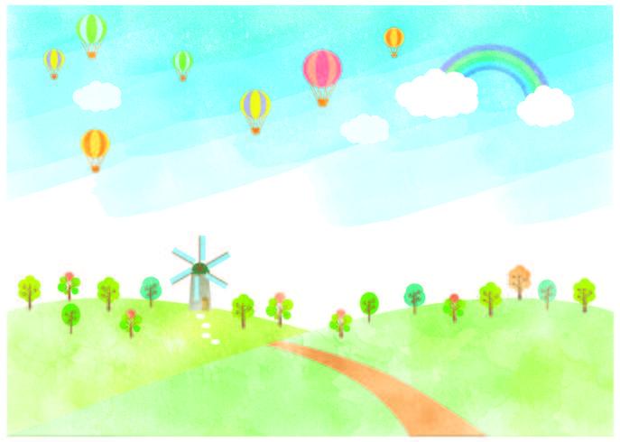 Paesaggio con mulino a vento e palloncini ad aria calda