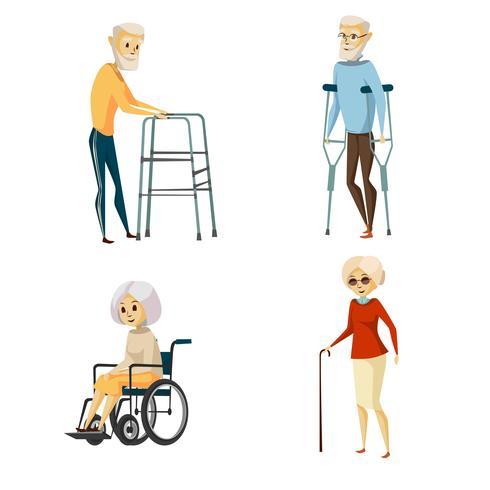 Conjunto de caracteres com deficiência sênior