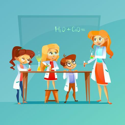 Niños en clase de química