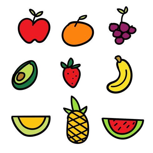 Conjunto de frutas de mão desenhada