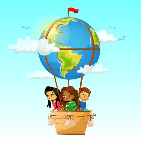 Crianças em balão de ar quente