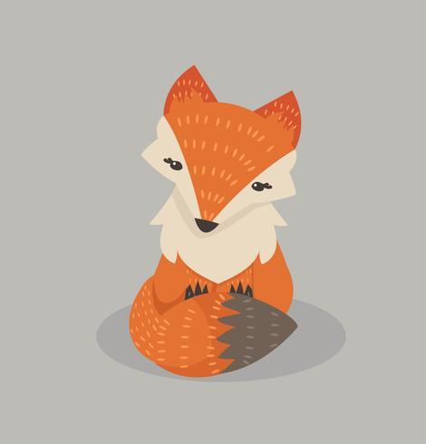 Leuke vos cartoon Fox vlakke stijl