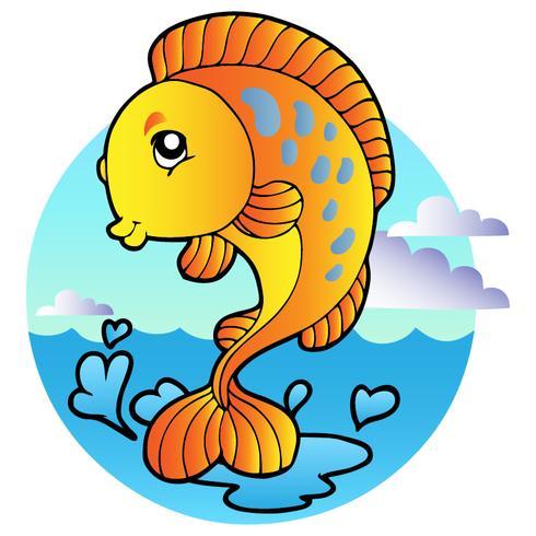Cartoon stijl oranje vis