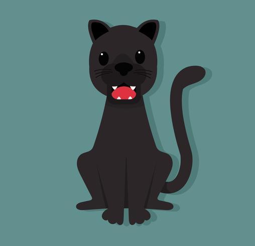 Cute black panther sitting
