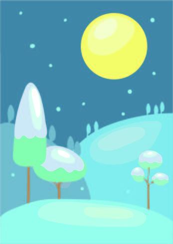 Paesaggio innevato e luna piena