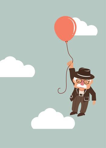anciano sosteniendo globo vector