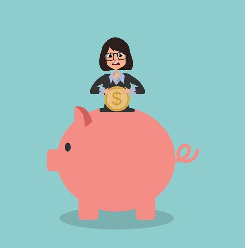 imprenditrice mettendo i soldi in un salvadanaio