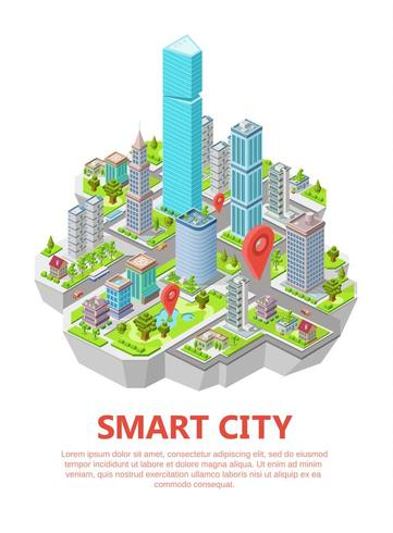 Illustrazione di vettore di città intelligente isometrica