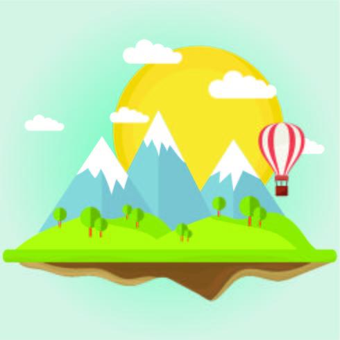 Paisaje abstracto con montañas y globos aerostáticos