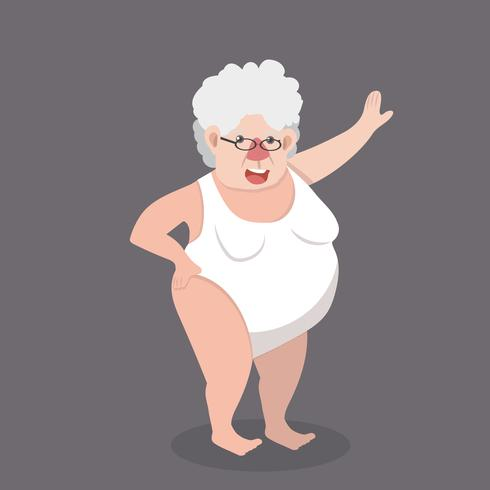 äldre kvinna som bär baddräkt