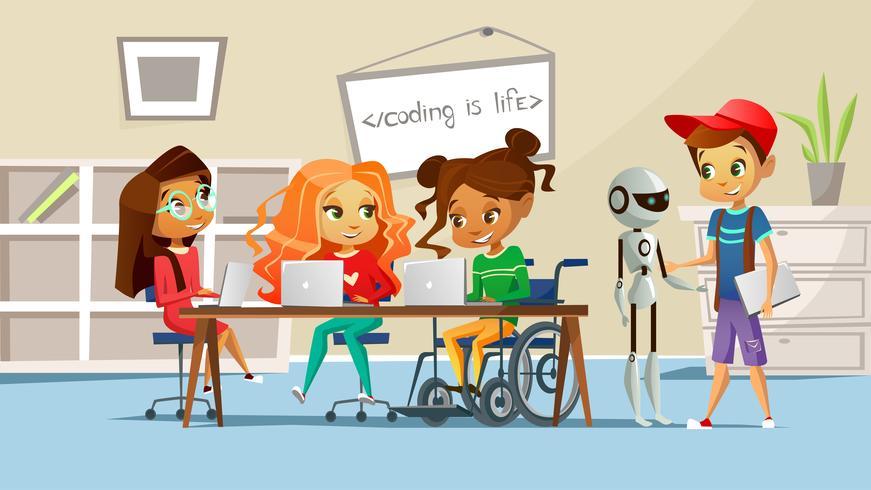 Jongen en meisjes studeren aan tafel met gehandicapte meisje in rolstoel en robot