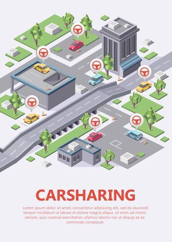 Illustrazione isometrica di vettore della mappa di car sharing