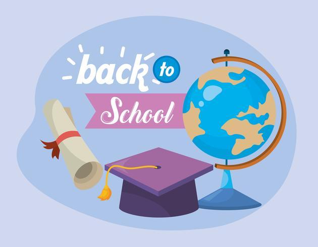 Ritorno a scuola messaggio con globo e cappello di laurea e diploma