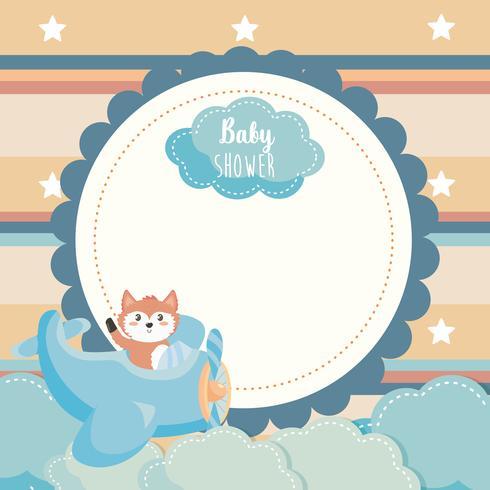 Babydoucheetiket met vos in vliegtuig